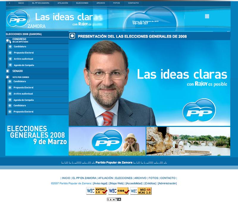 Diseño web Partido Popular 2008