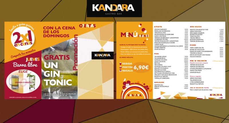 Menu ofertas para gastrobar restaurante Kandara