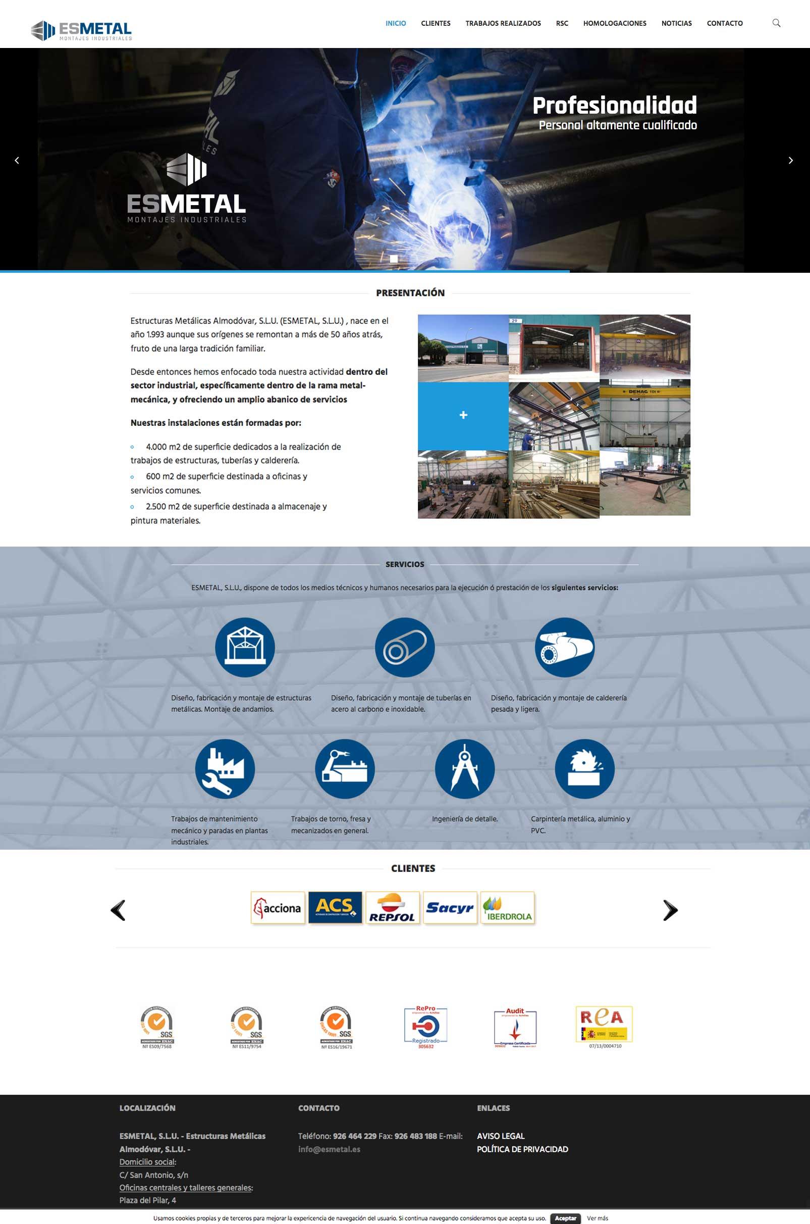 Página web responsive para Esmetal - Estructuras metálicas